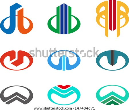 Design vector logo template. Icon set. You can use in the buildings, apartments, real estate ,science and other  technology concept of pattern  - stock vector