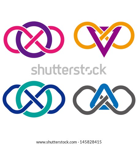 "Design vector logo template. ""s"", ""A"", ""v"", ""o"" letters icon set. You can use in the commerce, financial, construction ,spinning and communication concept of pattern.  - stock vector"