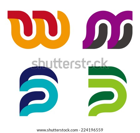 """Design vector logo template. """"w"""", """"s"""", """"p"""", """"w"""", """"m"""", """"n"""", """"u"""",""""B"""" letters icon set. You can use in the commerce, traffic, financial, construction and communication concept of pattern.  - stock vector"""