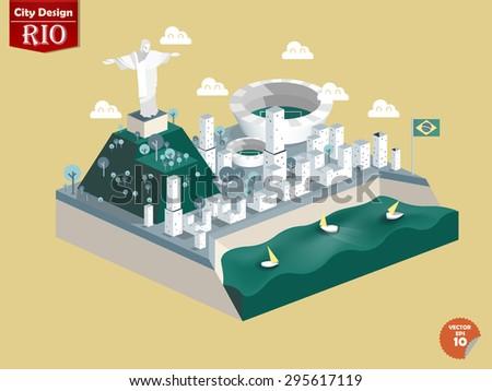 design vector of Rio de janeiro Brasil,Rio de janeiro city design in perspective,cute design of Rio de janeiro - stock vector