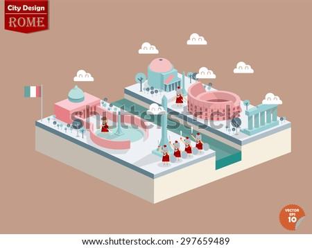 design vector of rome italy,rome city design in perspective,cute design of rome - stock vector