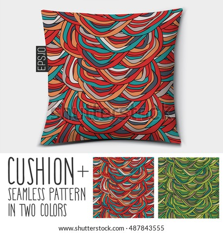 design vector pillow cushion isolated pillow with seamless pattern in two colors