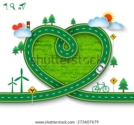 Design vector road frame in form of heart with car and traffic signs on green grass. Greeting card Valentine's Day, Vector Illustration EPS 10. - stock vector
