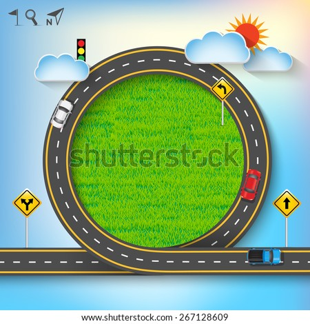 Design vector road frame with car and traffic signs on green grass. Concept of travel, Vector Template Background, Illustration EPS 10. - stock vector