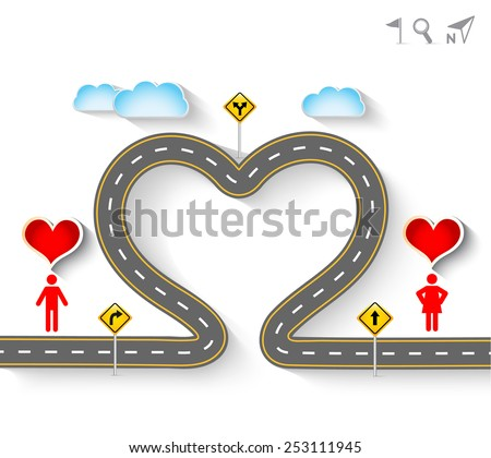Design vector road in form of heart with woman and man icons. Romantic background with concept of travel, Greeting card Valentines Day, Vector Illustration EPS 10. - stock vector