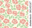 Design vector rose, floral seamless, retro pattern, flower background, fabric vintage wallpaper. Cute backdrop. Beautiful illustration - stock vector