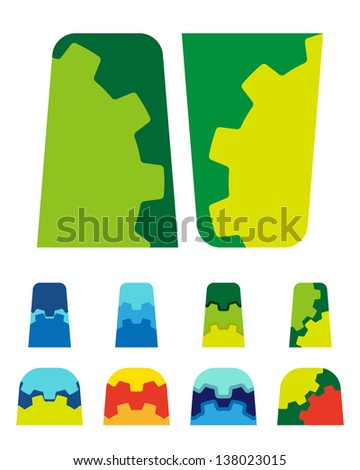 Design vector toothed logo element. Colorful abstract gears pattern, cute icon set. You can use the machinery, factories,games, electronic or creative design concepts. - stock vector