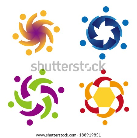 Design vector wave star logo element. Abstract people icon. You can use in the media, mobile, public groups, alliances, environmental, mutual aid associations and other social welfare agencies.  - stock vector