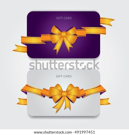 Design violet and white gift card or invitation. Bows and Ribbons for holidays. Vector illustration. Template for your design. Design elements