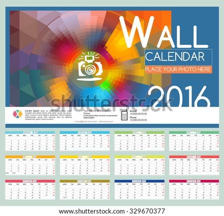 Design wall calendar 2016 vector templates stock vector 329670377 design wall calendar 2016 vector templates all months example design gift calendars for cafes saigontimesfo
