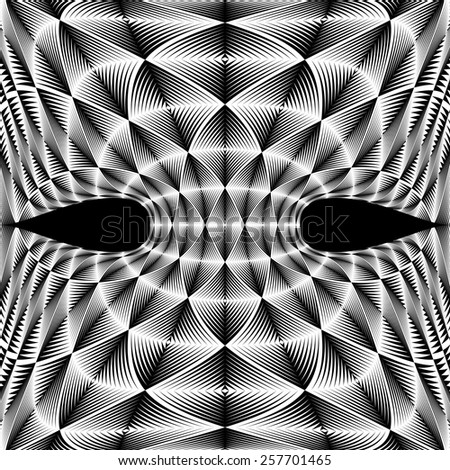 Design warped diamond trellised backdrop. Abstract geometric monochrome element. Vector art. No gradient - stock vector