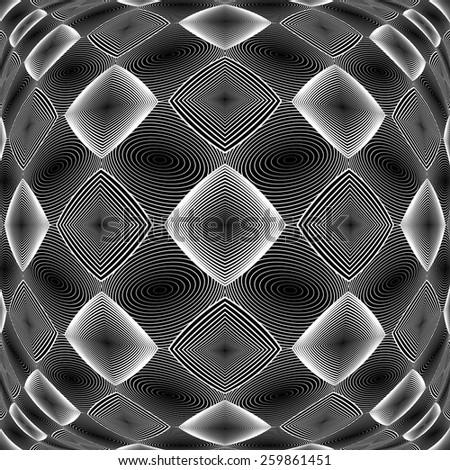 Design warped monochrome geometric diamond pattern. Abstract textured background. Vector art. No gradient - stock vector