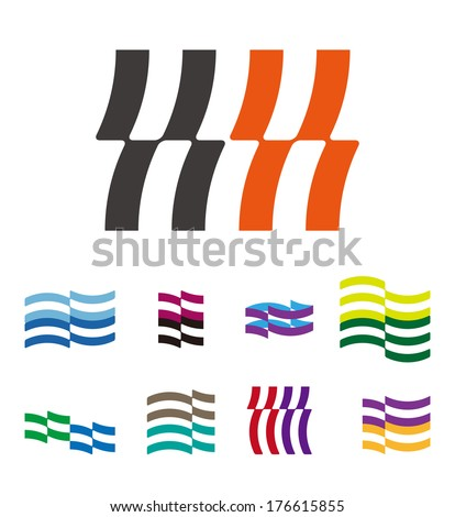 "Design wave lines logo element. Abstract stripe vector template set. ""k"", ""h"", ""m"", ""n"",""s"", letters icon set. You can use in the hotel, financial, media,chemistry, spa and pool concept of pattern.  - stock vector"