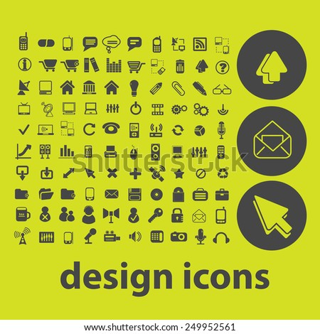 design, website, internet icons, signs, illustrations on background set, vector - stock vector