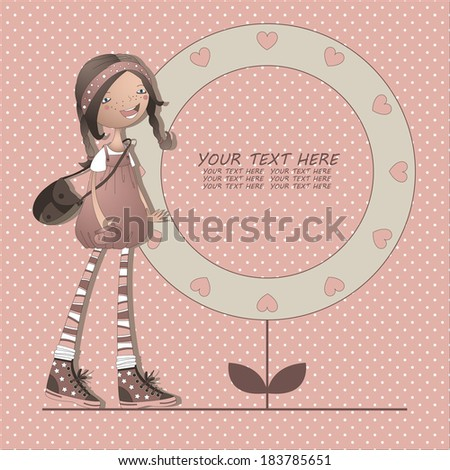 Design with a girl in a pink background in dots