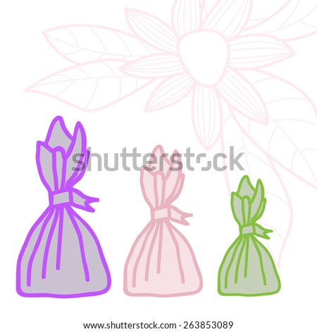 Design with candy in the form of bags and flower. - stock vector