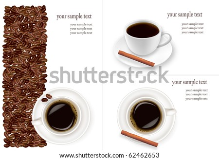 Design with cup of coffee and coffee grains. Vector. - stock vector