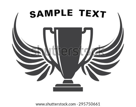 Design with cup, wings and space for text