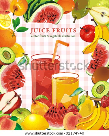 Design with juicy Fruit Frame, detailed vector illustration. Abstract Elegance food background. - stock vector