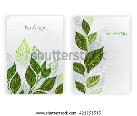 Design with patterned, green and gray leaves of tea on a gray textural background. Tea design.  layout in A4 size.