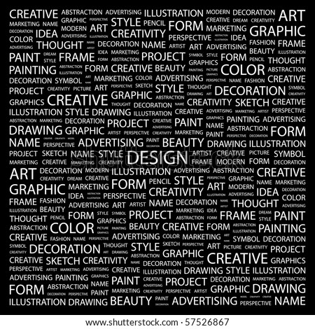 DESIGN. Word collage on black background. Illustration with different association terms. - stock vector
