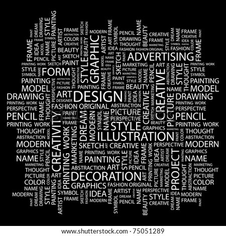 DESIGN. Word collage on black background. Vector illustration. Illustration with different association terms. - stock vector