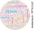 DESIGN. Word collage on white background. Vector illustration. - stock