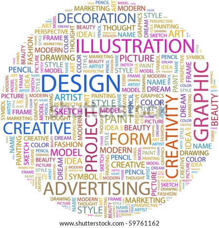 DESIGN. Word collage on white background. Vector illustration. - stock vector
