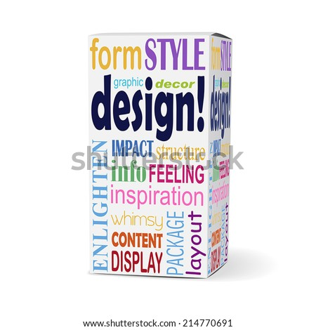 design word on product box with related phrases