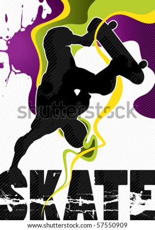 Designed abstract banner with stylized skateboarder. Vector illustration. - stock vector
