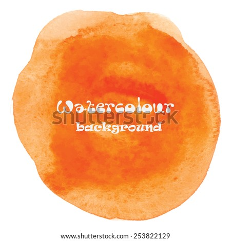 Designed abstract hand painted watercolor background. In orange isolated on white. Vector illustration - stock vector