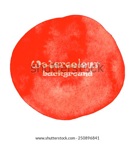 Designed abstract hand painted watercolor background. In red isolated on white. Vector illustration - stock vector