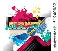 Designed abstract summer fun banner. Vector illustration. - stock vector