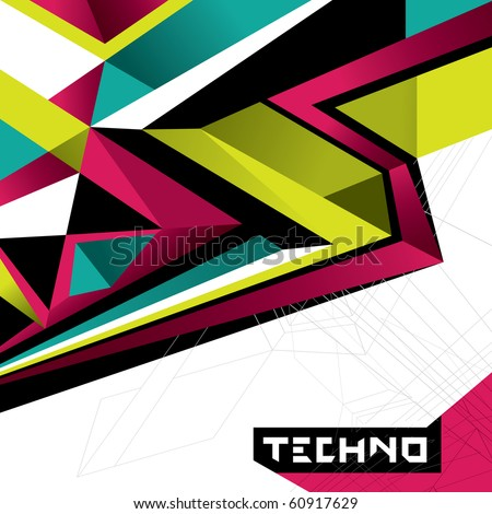 Designed abstract techno background. Vector illustration. - stock vector