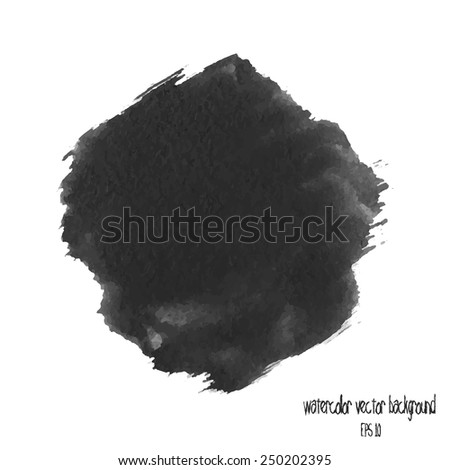 Designed abstract watercolor background, design element. black watercolor circle - stock vector