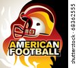 Designed american football banner with helmet. Vector illustration. - stock