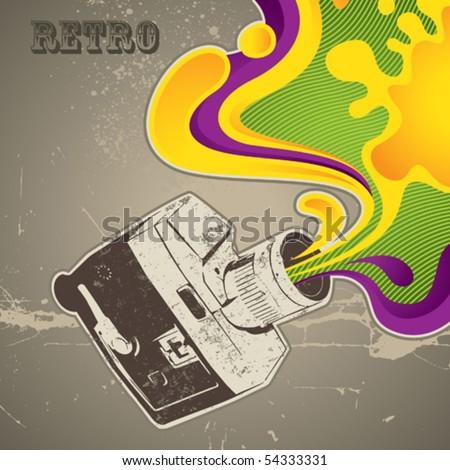 Designed background with retro camera. Vector illustration. - stock vector