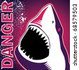 Designed banner with dangerous shark. Vector illustration. - stock vector