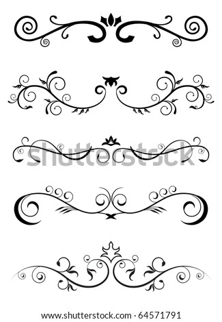 designed borders - floral pattern - stock vector