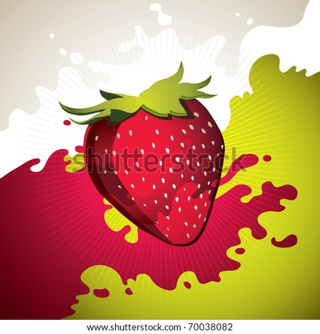 Designed colorful strawberry background with splash. Vector illustration. - stock vector