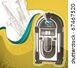 Designed conceptual background with jukebox. Vector illustration. - stock photo