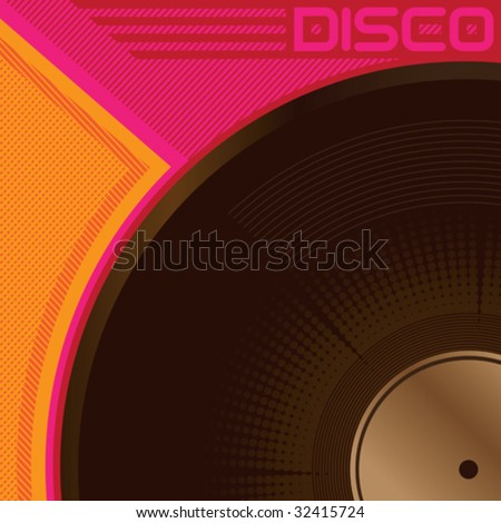 Designed disco poster with vinyl. Vector illustration. - stock vector
