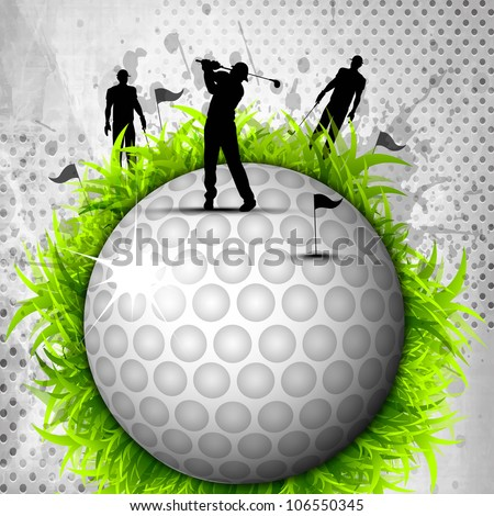 Designed golf background, Element or icon of golf ball with silhouette of players with golf stick grungy  background. EPS 10, - stock vector