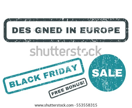 Designed In Europe rubber seal stamp watermark with additional images for Black Friday offers. Vector soft blue signs. Text inside rectangular shape with grunge design and scratched texture.
