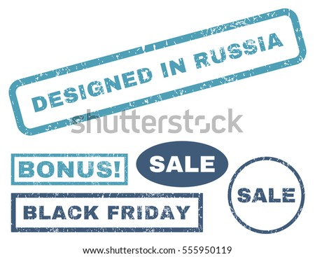 Designed In Russia rubber seal stamp watermark with bonus images for Black Friday sales. Vector cyan and blue signs. Text inside rectangular banner with grunge design and dust texture.