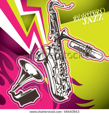 Designed modern jazz artistic banner. Vector illustration. - stock vector