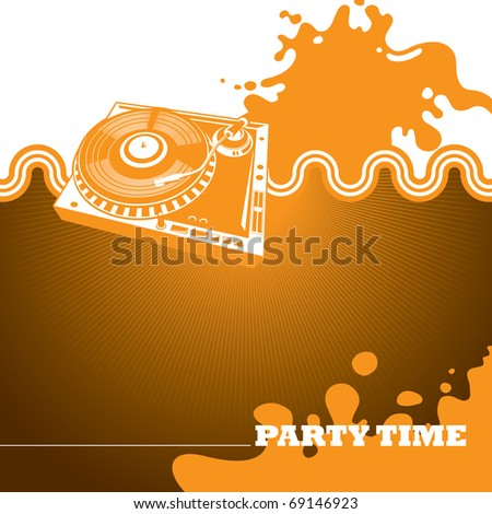 Designed party banner with turntable. Vector illustration. - stock vector