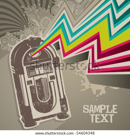 Designed retro banner with jukebox. Vector illustration. - stock vector