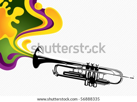 Designed stylized banner with trumpet. Vector illustration. - stock vector