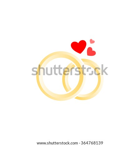 Designed vector isolated logo of wedding rings. Logo for jewellery store. Wedding symbols. Marriage agency sign. rings logo. Vector rings. rings icon. yellow rings. rings and hearth. Vector isolated. - stock vector